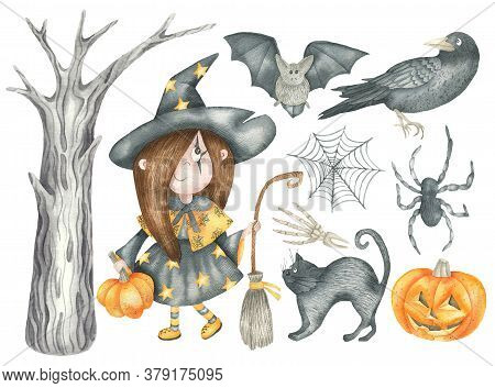 Halloween Set: Witch Girl, Spider And Spider Web, Black Cat, Bat, Crow, Tree And Pumpkin. Isolated E
