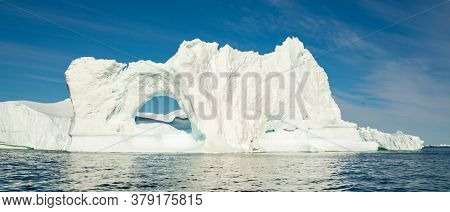 Global warming and climate change concept. Arctic icebergs in Greenland.