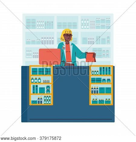 Woman Cashier Standing Behind Counter With Cash Register, Cartoon Vector Illustration Isolated On Wh