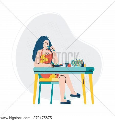 Modern Woman Cartoon Character Eating Organic Fresh Food Flat Vector Illustration Isolated On White