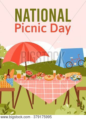 National Picnic Day Holiday Card Or Poster Template With Garden Furniture Served For Dinner, Cartoon