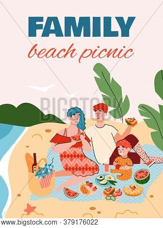 Family Beach Picnic Banner Or Poster Design With Young Couple Sitting On Seacoast And Having A Picni