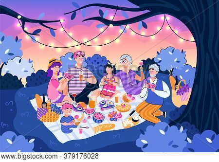 Family At Night Picnic In Summer Nature - Cartoon People Eating Food At Evening Sunset Under Tree Wi