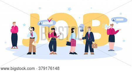 Banner For Recruiting Agency With Big Job Inscription And Tiny Characters Of Job Candidates And Recr