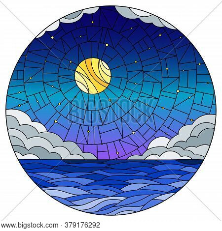 Illustration In Stained Glass Style With Sea Landscape, Sea, Cloud, Starry Sky And Moon, Round Image