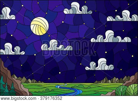 Illustration In Stained Glass Style With The Meandering River On A Background Of Mountains, Forests