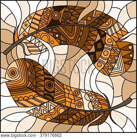 Illustration In Stained Glass Style With Patterned Feathers On A Light Background, Tone Brown, Sepia