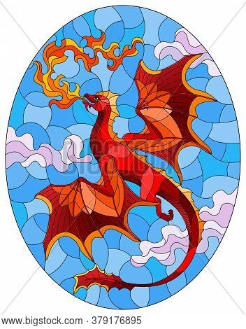 Illustration In Stained Glass Style With Bright Red Dragon With Flames Against The Sky And Clouds Ba