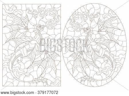 Set Of Contour Illustrations In Stained Glass Style With Flying Dragons On The Background Of Cloudy