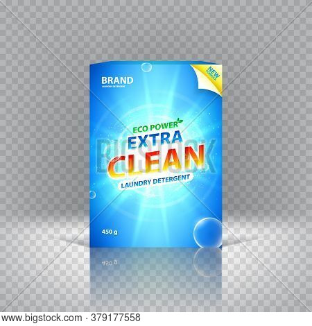 Realistic Box Of Laundry Detergent. Vector Illustration. Concept Of Packaging And Advertising Of Lau
