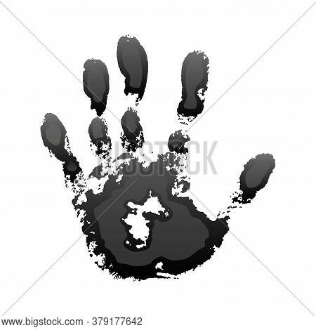 Hand Paint Print 3d, Isolated White Background. Black Human Palm And Fingers. Abstract Art Design, S