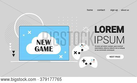 New Game On Laptop Screen With Gaming Controllers Video Games Concept Horizontal Copy Space Vector I