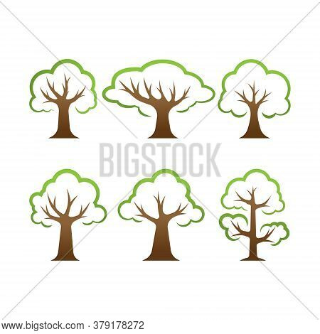 Tree. Tree vector. Tree icon vector. Tree icon. Tree logo. Tree Shillouette Vector. Tree vector design. Tree symbol vector. Tree Sign. Tree Logo icon. Tree Leaves vector logo design template illustration. Set of Tree icon vector illustration