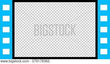 Film Strip Template Video Player Light Blue Color, Window Multimedia Panel For Clip Video, Filmstrip