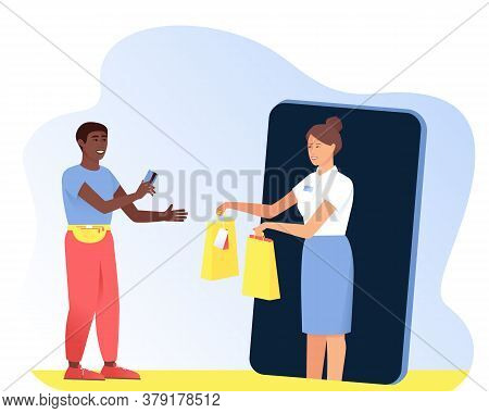 The Afro American Man Makes Purchases From The Seller In The Online Store. Man Pays With A Card For