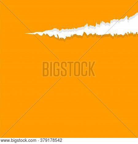 Paper Orange With Tear Marks For Banner Copy Space, Paper Rip Torn Orange For Background, Orange Pap