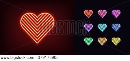 Neon Heart Icon. Glowing Neon Heart Sign With Angled Texture, Amour Shape In Vivid Colors. Romantic