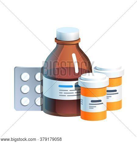 Meds, Pill Blister, Glass Bottle With Medicine