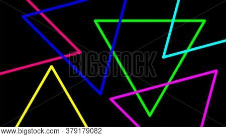 Light Beam With Triangle Line Shape For Background, Night Light Effect On Black Color, Geometric Tri