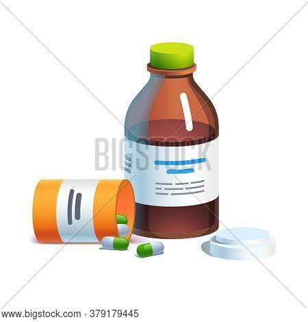Meds, Glass Bottle With Liquid Medicine, Pill Tube