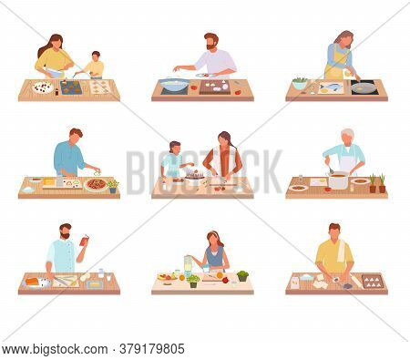 People Cook Tasty Food Set. Characters Share Recipes Prepare On Kitchen Table Delicious Dishes Old W