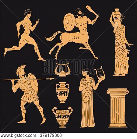 Ancient Greece Gold Figures Set Terracotta Style, Vector Illustration Isolated.