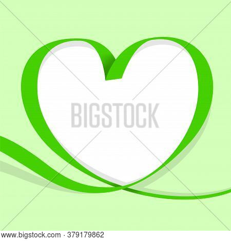 Ribbon Heart Shape Green Isolated On Green Pastel, Ribbon Line Green Heart-shaped, Heart Shape Ribbo