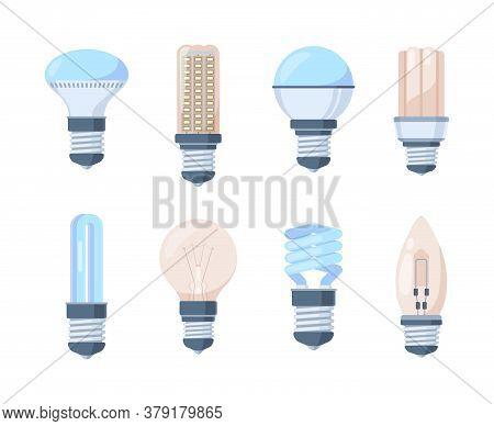Light Bulbs Set. Fluorescent Retro Modern Lamps Innovative Bright Halogen Spiral Filament Inertial G