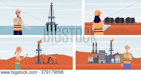 Set Oil And Gas Refining Backgrounds With Machinery Flat Vector Illustration.