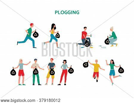 Plogging Initiative Characters And Icons Set, Flat Vector Illustration Isolated.