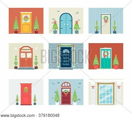 Front Door Of House Decorated For Christmas - Isolated Festive Set