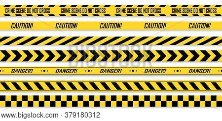 Police Yellow With Black Line Tapes. Crime Safety Line. Warning And Danger Seamless Stripes. Isolate