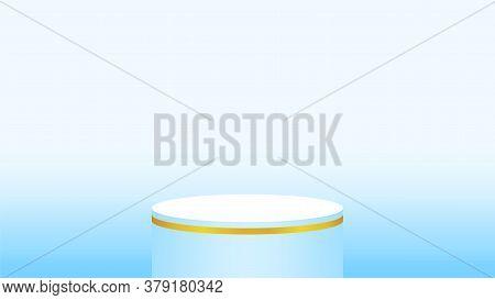 3d Light Blue Pedestal Cylinder Circle For Cosmetics Showcase, Podium Circle Stage Blue Pastel Soft