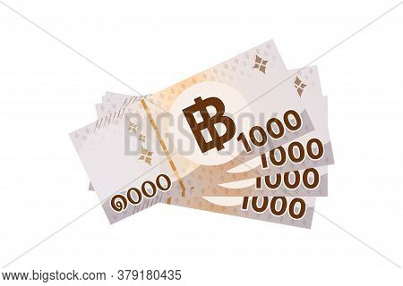 4,000 Baht Thai Banknote Money Isolated On White, Thai Currency Four Thousand Thb Concept, Bank Note