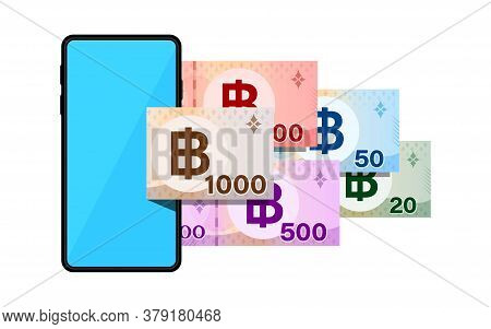 Smartphones And Banknote Money Thai Baht, Smart Phone Blue Screen And Banknote Money Thb, Mobile Pho