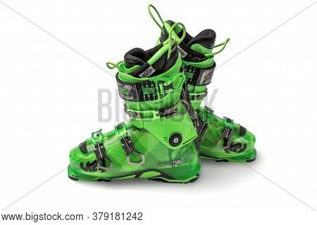 Moscow, Russia - July 01, 2020: Ski Boot, Photo Of New K2 Pinnacle 130. K2 Is The Original American