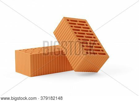 Two Red Brick Stones Over White Background, Architecture, Construction Or Masonry Concept, 3d Illust
