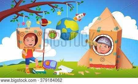 Boy Kids Playing Alien Earthling Cosmonaut Contact