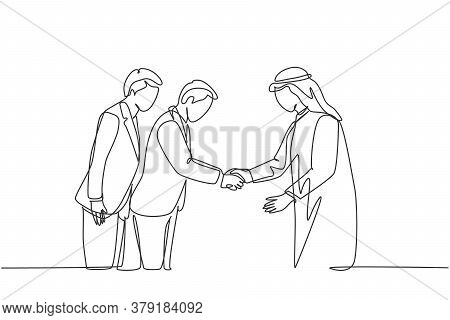 One Continuous Line Drawing Of Young Muslim Business Man Bowing To His Japanese Partner. Saudi Arabi