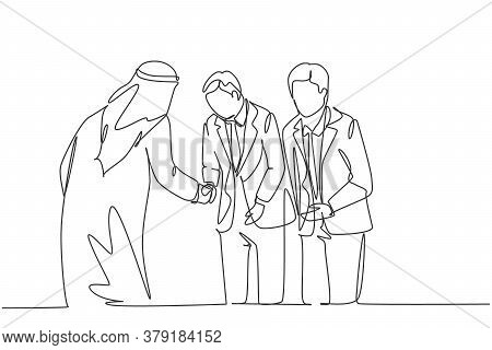 One Continuous Line Drawing Of Young Muslim Businessman Take Bow To Respect His Japanese Colleague.