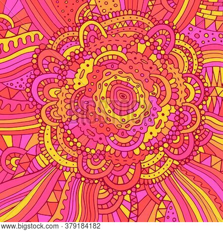 Floral Doodle Trippy Psychedelic Mandala Artwork. Line Multicolor Realistic Drawing. Doodle Pink Ros