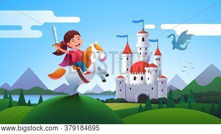 Girl Kid Medieval Horseman Knight Riding Horse