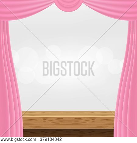 Wood Table And Luxury Pink Curtains For Advertise Product Display, Wooden Top Table Decoration With