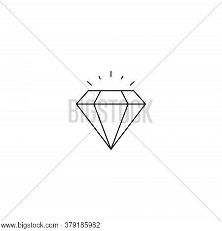 Diamond Icon Vector In Trendy Outline Style. Expensive Stone Symbol Illustration - Editable Stroke