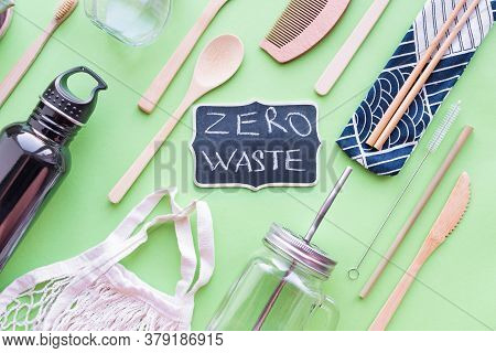 Zero Waste Concept. Cotton Bag, Bamboo Cutlery And Toothbrushes, Glass Jars, Metal And Bamboo Straws