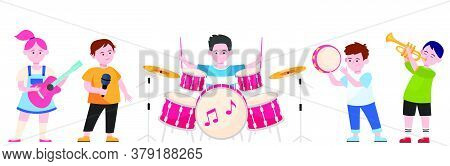 Cartoon Children Band Flat Vector Illustration