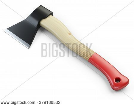 Axe With Wooden Hilt Isolated On White Background. 3d Illustration Isolated On A White Background.