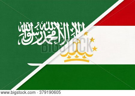 Saudi Arabia And Tajikistan, Symbol Of National Flags From Textile. Relationship, Partnership And Ch