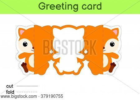 Cute Fox Fold-a-long Greeting Card Template. Great For Birthdays, Baby Showers, Themed Parties. Prin