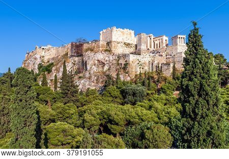 Acropolis Of Athens In Summer, Greece. It Is Top Landmark Of Athens. Panorama Of Famous Hill With An